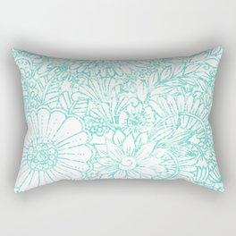 Artistic teal white hand painted floral pattern Rectangular Pillow