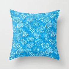 Doodle hearts pattern in blue Throw Pillow