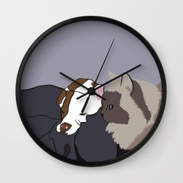 A Pit Bull and Her Kitty Wall Clock