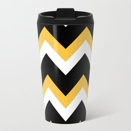 Yellow Black Chevron Travel Mug