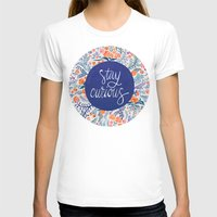 navy T-shirts featuring Stay Curious – Navy & Coral by Cat Coquillette