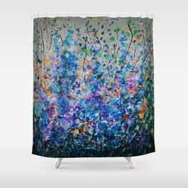 Blue Flowers,  Sunshine, and Freedom Shower Curtain