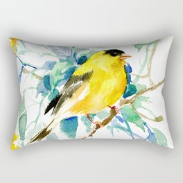 American Goldfinch, yellow sage green birds and flowers Rectangular Pillow