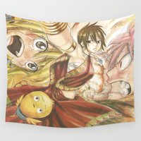 fairy tail Wall Tapestries featuring fairy tail eclaire by 6alba