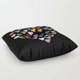 Distressed Hearts Heart Black Floor Pillow