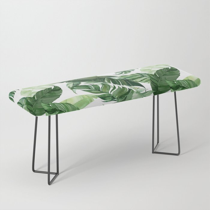 Green leaf watercolor pattern Bench