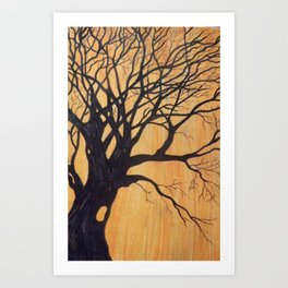 Skeleton Tree On Orange, Two Art Print