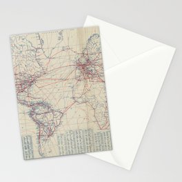 Vintage World Air Travel Map (1919) Stationery Cards