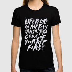 CRASH Womens Fitted Tee Black LARGE