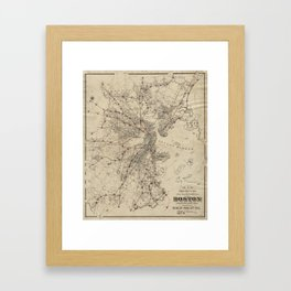 Vintage Map of Boston Railroads (1876) Framed Art Print