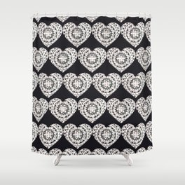 Black and Silver Mandala Hearts Textile Shower Curtain