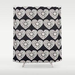 Black and Silver Mandala Hearts Textile Shower Curtain