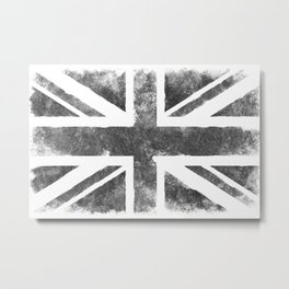 Grey UK Flag Metal Print