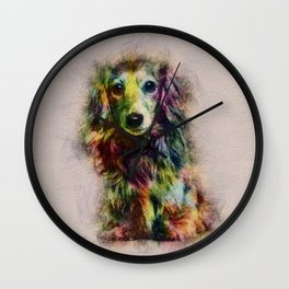 Dachshund Puppy Sketch Paint Wall Clock