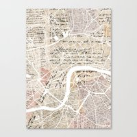 london map Canvas Prints featuring London map by Mapsland