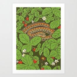 Snake & Strawberries Art Print