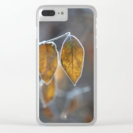 Mustard Yellow and Brown Fall Leaves on Gray Clear iPhone Case