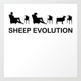 Sheep Evolution TV Television Brainwash Funny T-Shirt Art Print