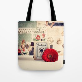 Retro Camera and Red Flower (Retro and Vintage Still Life Photography) Tote Bag