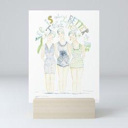 "Beach art, ""trio"", soul sisters, blue and green coastal Mini Art Print"
