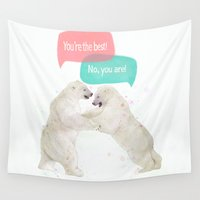 best friends Wall Tapestries featuring best friends by Laura Graves