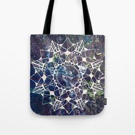White Mandala on Purple Fluid Acrylic Painting Tote Bag