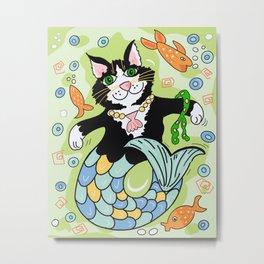 Mermaid cat fantasy art green Metal Print