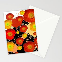 PAINTING ORANGE POPPIES BLACK-WHITE ART Stationery Cards