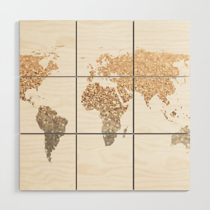 GOLD WORLD MAP Wood Wall Art by monikastrigel | Society6