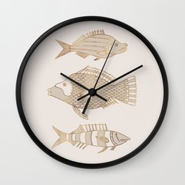 Fantastical Fish 2 - Natural Wall Clock