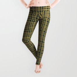 Fine Weave Retro Modern Mid-Century Pattern in Mustard Yellow and Navy Blue Leggings
