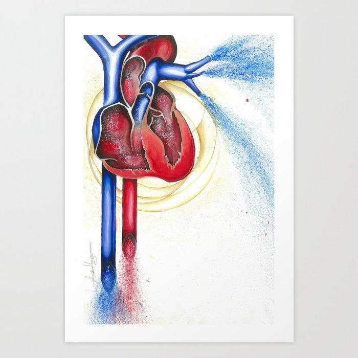 Anatomical Heart Abstract Blood Art Print By Adammurray