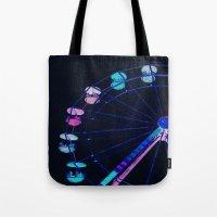 ferris wheel Tote Bags featuring Ferris Wheel Pink Blue Aqua by Whimsy Romance & Fun