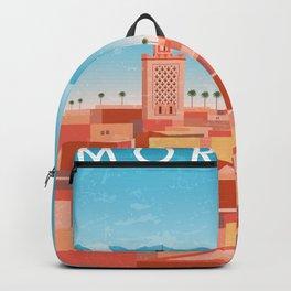 Morocco, Marrakech - Retro travel minimalistic poster Backpack