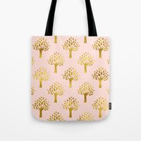 gold foil Tote Bags featuring Pink Gold Foil 02 by Aloke Design