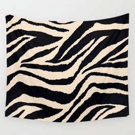 Zebra Animal Print Black and off White Pattern Wall Tapestry
