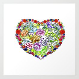 flowers in the heart Art Print