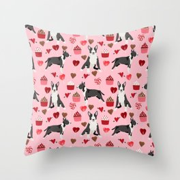 Bull Terrier valentines day love cupcakes hears dog breed pet friendly gifts Throw Pillow