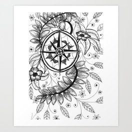 Compass Adventure Art Print