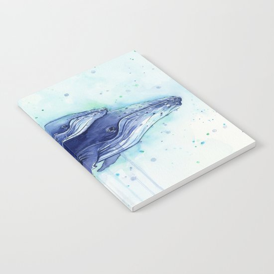 Humpback Whale Watercolor Mom and Baby Painting Notebook