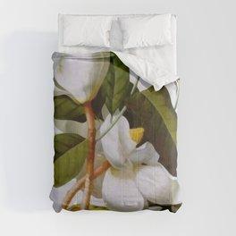 Vintage Botanical White Magnolia Flower Art Comforters