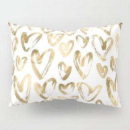 Gold Love Hearts Pattern on White Pillow Sham