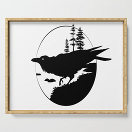 Raven Silhouette II Serving Tray