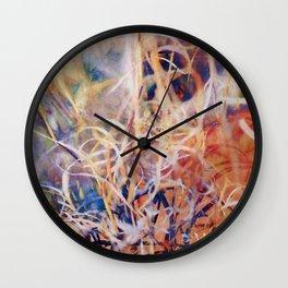 Tangled Desert Grass on a Windy Day Wall Clock