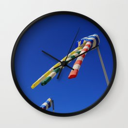 Flying Wind Socks and Blue Sky Wall Clock