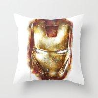 iron man Throw Pillows featuring Iron Man by beart24