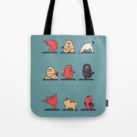 yoga Tote Bags featuring Cat Yoga by Huebucket