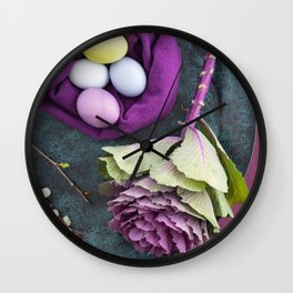 Easter floral still life Wall Clock