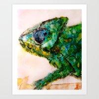 chameleon Art Prints featuring chameleon by Kay Weber