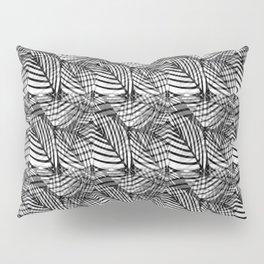 Tiled Black White And Grey Leaf Vein Pattern Pillow Sham